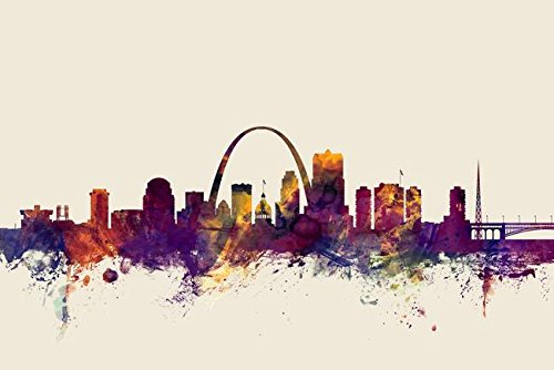 Imagekind Wall Art Print Entitled St Louis Missouri Skyline by Michael Tompsett | 48 x 32