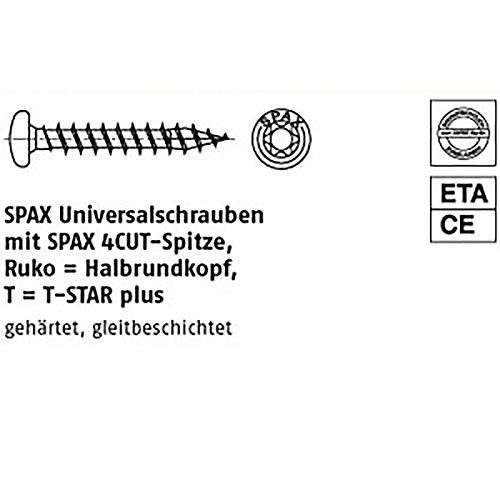 Tellerkopf 6,0 x 180 mm WIROX A3J SPAX Holzbauschraube 4CUT 100 St/ück 251010601805 T-STAR plus Teilgewinde