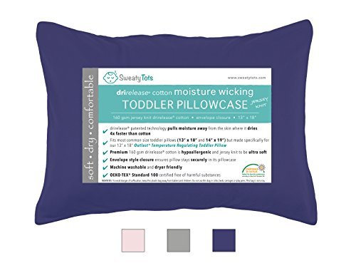 Moisture Wicking Toddler Pillowcase for Sweaty Sleepers - Fits 13 x 18 and 14 x...