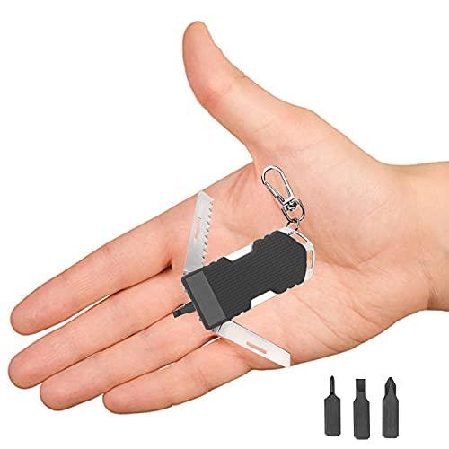 Poktlife 8 en 1 Navaja Multifuncional, Impermeable Herramienta Múltiusos, con cuchillo, destornillador,sierra, para camping y emergencias(Negro)