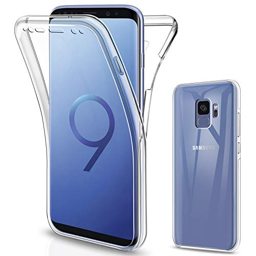 SOGUDE Cover Samsung S9, Custodia Samsung S9 Transparent 360°Full Body Protezione Silicone TPU Premium Resistente Case Cover per Samsung Galaxy S9