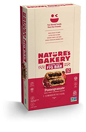 Nature's Bakery Gluten Free Fig Bars, Pomegranate, 1- 12 Count Box of 2 oz Twin Packs (12 Packs), Vegan Snacks, Non-GMO
