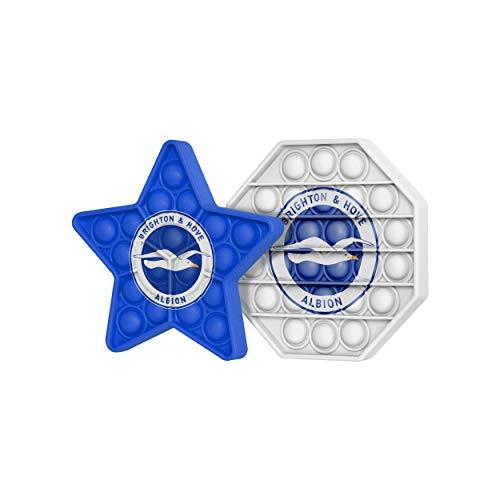 FOCO Brighton & Hove Albion FC Football EPL League One Championship 2 Pack Hexagon & Star Push-Itz FidgetPush Pop Bubble Sensor Toy Craze