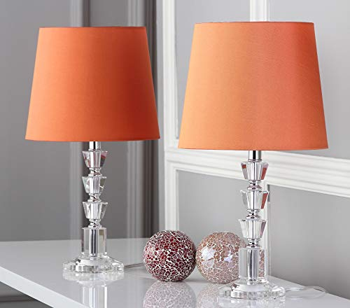 Safavieh Lighting Collection Harlow Clear and Orange Tiered Crystal Orb 16-inch Table Lamp (Set of 2)