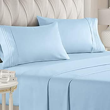 CGK Unlimited King Size Sheet Set - 4 Piece Hotel Bed Sheets - Extra Soft - Deep Pockets - Easy Fit - Breathable & Cooling Wrinkle Free Kings Bed Sheets  King Size Light Blue