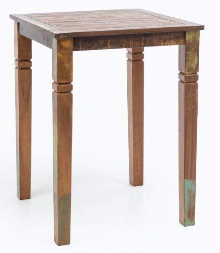 WOHNLING Stehtisch Kalkutta 80 x 80 x 110 cm , Massivholz Bartisch für 4 Personen , Rustikaler Tisch für Bar , Partytisch Shabby Chic , Hochtisch Massiv Holz