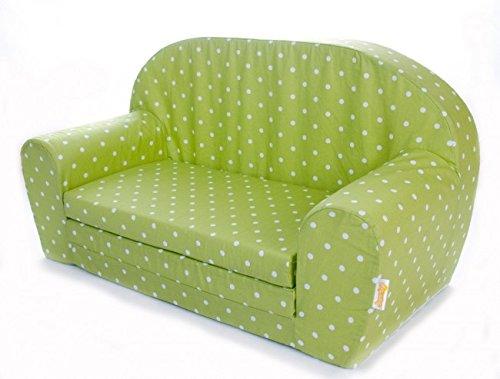 Gepetto Kindersofa grün I kleines ausklappbares Sofa für Babys oder Kleinkinder als Sitz oder Kuschelecke I Puppensofa