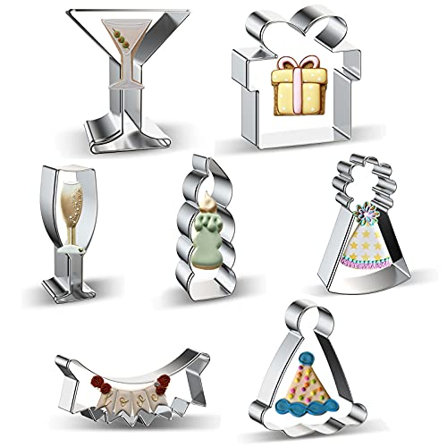 Birthday Cookie Cutters Baking Set - 7 Pieces Stainless Steel Martini Glass, Christmas Gift Present Box, Champagne Glass, Candle, Banners, Birthday Hat Shaped Biscuit Molds Cookie Cutter for Party