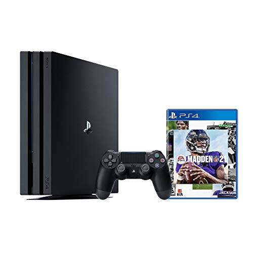 PS4 Playstation 4 Pro 1TB Console with Madden NFL 21 Pro 1TB Jet Black 4K HDR Gaming Console, Wireless Controller and NFL 21 Game Disc