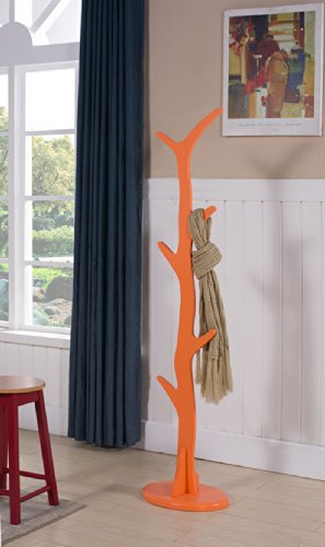 Kings Brand Contemporary Tree Style Wood Coat and Hat Rack Stand Orange
