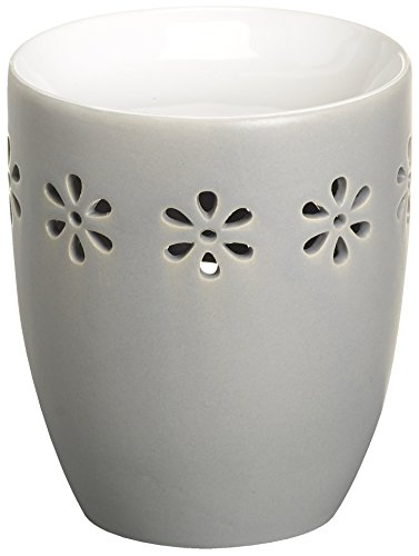 Creations Ovale Duftlampe aus Keramik, 9,7 x 9,7 x 11,4 cm, Hellgrau