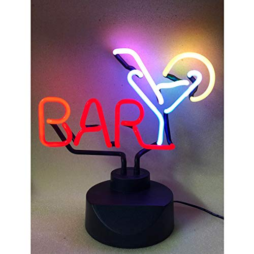 Bar with Martini Real Glass (NOT LED) Neon Light Signs with Holder Base, Neon Art Table Desk Sign for Room Party Birthday New Year Decoration.