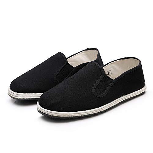GFKD Kung Fu Zapatillas Artes Marciales Tai Chi Zapatos, Capas cojín Suave y Zapatos de Suela de Goma Chinos Negro (Elegir un tamaño más Grande de lo Habitual),9UK