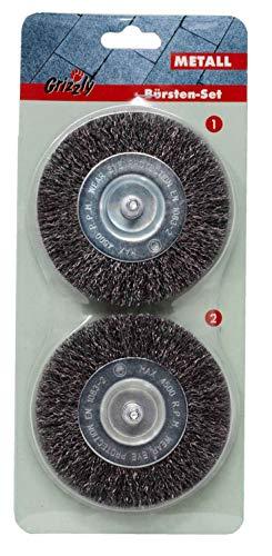 Grizzly Elektrische Fugenbürste Ersatzbürste Drahtbürste 2er Set Fugenreiniger: Metall Fugen Bürsten Set 2 Stück für Grizzly EFB 400 und EFB 401 geblistert