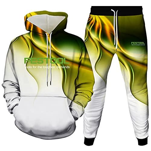 Woakzhe Fest-oo.l - Chándal para hombre, sudadera con capucha y pantalones deportivos con diseño de lazo en 3D