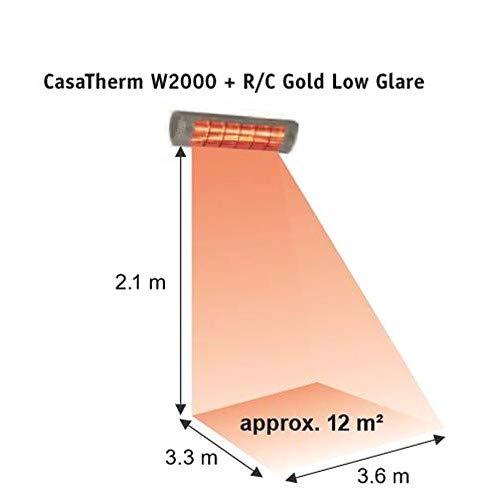 CasaTherm Infrarot Heizstrahler W2000 Gold LowGlare IP65, Silber, 2000 Watt - 2