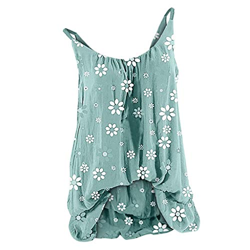 Womens Sleeveless Tops 2020 Summer Womens Plus Size Tank Tops Boho Floral Sleeveless Vest Oversized Spaghetti Strap Blouse Camis