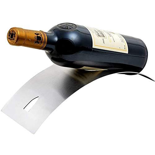 BFDMY Soporte De Botella De Vino Curvo De Acero Inoxidable Satinado Moderno, Soporte De Botella De Vino De Diseño Contemporáneo, Sello De Botella De 750 Ml