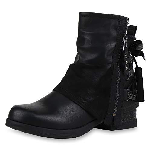 SCARPE VITA Damen Stiefeletten Biker Boots Leicht Gefütterte Zipper Schuhe Leder-Optik Quasten Snake Print Schleife 186543 Schwarz Snake 36