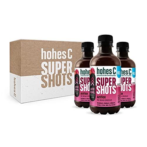 Hohes C Super Shots Antiox (3 x 330ml) – Zellschutz mit Brombeere, Himbeere, Erdbeere, Grüner Mate Tee-Extrakt, Aronia – vegan, ohne Zuckerzusatz & Konservierungsstoffe, EINWEG