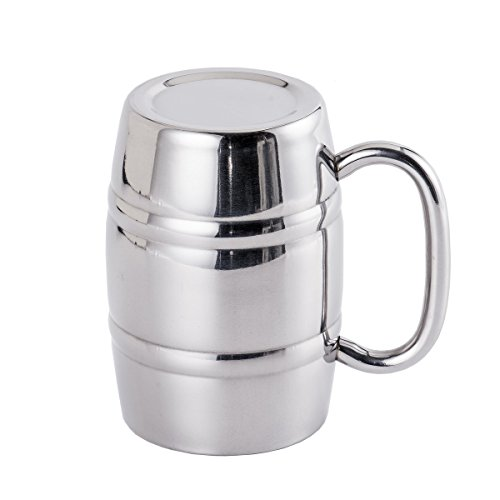 3-Queen Stainless Steel Beer Mug, Double Wall Air Insulated Beer Stein Cup, 14 OZ