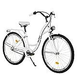 Milord. Komfort Fahrrad mit Gepäckträger, Hollandrad, Damenfahrrad, 3-Gang, Weiß, 28 Zoll