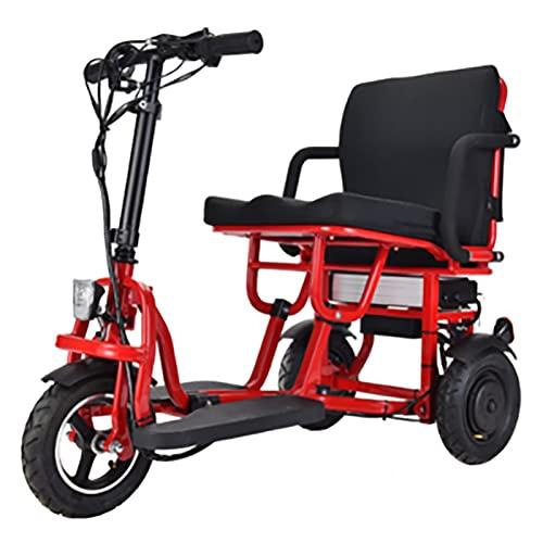 Scooters Eléctricos Plegables De 3 Ruedas, Triciclo Compacto Ligero Portátil Scooter De Movilidad Silla De Ruedas Móvil Eléctrica Con Asiento Para Adultos Ancianos Discapacitados Viaje (Rojo)
