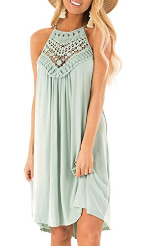 ECOWISH Womens Halter Neck Lace Patchwork Backless Loose Tunic Tank Dress Sleeveless Casual Top Dresses LightGreen Large