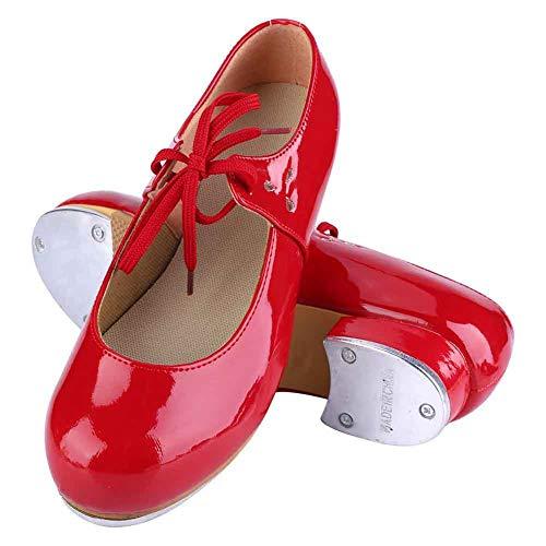 Keenso Zapatos de Baile de niña, Zapatos de Cuero Artificial de PU Moda Chica Tap Dance Step Dance (38-Rojo)