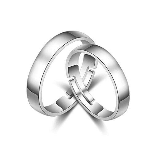 1 paar verlovingsringen partnerschapsringen dames heren 925 sterling zilver hypoallergeen eenvoudige smal trouwringen huwelijk memoir ringen verstelbaar