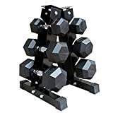 Soporte para mancuernas, soporte para pesas sólido en forma de A, soporte de almacenamiento de pesas de acero de 3 capas / 440 lb para pesas, adecuado para gimnasio en casa, juego de mancuernas de22 '