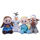 4 Piezas Frozen Elsa AnnaPeluche 20Cm, Muñecos De Peluche Suave MuñecosBebé Niña Sueño Cumpleaños Navidad Regalos