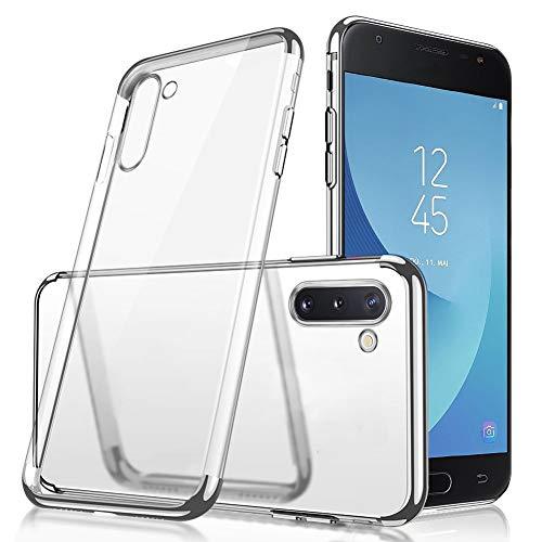 Uposao Compatible avec Coque Samsung Galaxy Note 10 Transparent Cristal Clair Silicone Gel Coque de téléphone + Glitter Placage Métal Coque Ultra Mince Souple Flexible Bumper Case Housse Etui,Argent