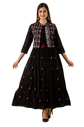 Barkha Fab Women Rayon Printed Anarkali Kurti with Jacket for Women&Girls Black