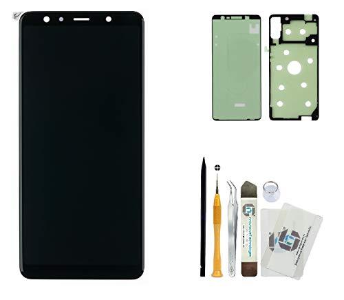ITG® Original Display Reparatur-Set für Samsung Galaxy A7 (2018) SM-A750F Schwarz – Original Samsung OLED Displayeinheit (Service Pack) GH96-12078A + Komplett-Set 3M Klebefolie + Werkzeug-Set