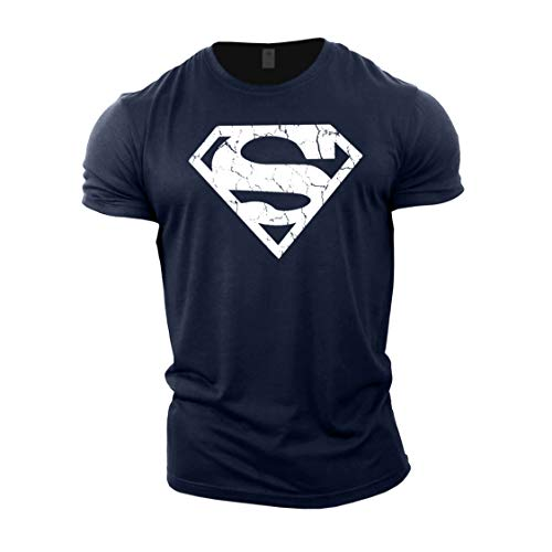 Gymtier - Camiseta de culturismo para hombre, diseño de Superman, para entrenamiento de gimnasio Azul azul marino M