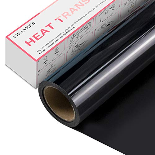 Zwanzer - Rollo flexible termoadhesivo para tela, 30,5 cm x 3,7 m, para cricut y silueta cameo-Rouleau, vinilo termoadhesivo, muy resistente, para camisetas y ropa, fácil de cortar y desherbar (negro)