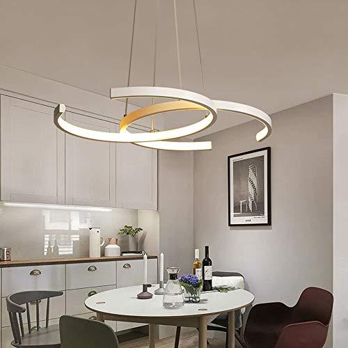 Modern 36W Pendel-Leuchte LED Dimmbar mit Fernbedienung Weiß Aluminium Designer-Lampe Pendellampe Esszimmer Esstisch Wohnzimmer Schlafzimmer Büro Höheverstellbar Deckenleuchte Hängelampe