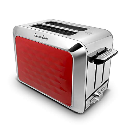 Fortune Candy Toaster 2 Slice Stainless Steel,Toaster for Bagels,Wide Slots Toaster with Removable Crumb Tray (Red)