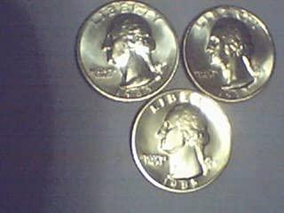1985-P, D, S Washington Quarters; Choice BU P & D and Gem Proof S.