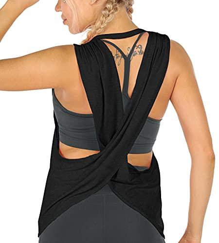 icyzone Camiseta de Tirantes para Mujer, sin Espalda, para Yoga, Gimnasio, Entrenamiento, Suelta, Camiseta de Fitness (L, Negro)