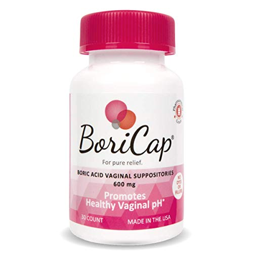 BoriCap Boric Acid Vaginal Suppositories   30 Count, 600mg   Capsules Size 00   No Fillers, Flow Agents or Artificial Colors   Gynecologist Instructions Included   Made in The USA