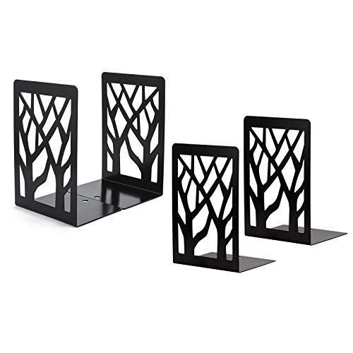 Sujetalibros, sujeta Libros estanteria de Metal, Lre Co. 2 Pares diseño de árbol decoración sujetalibros Originales Oficina Soporte Libros, Infantil sujeta Libros estanteria para hogar (Negro)