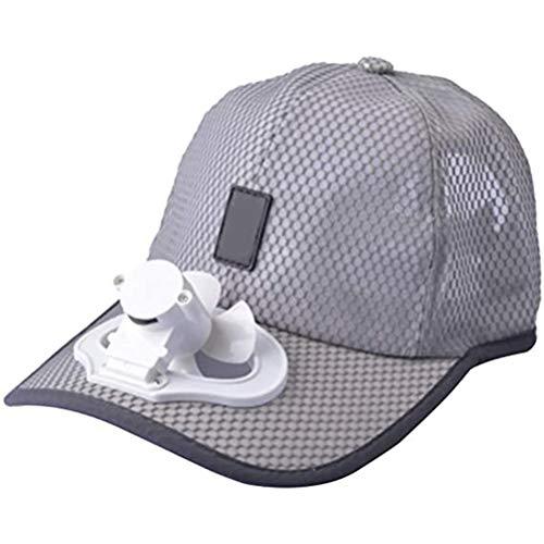 Sombrero Unisex Ventilador Ventilador Camping Senderismo Deporte Béisbol de Verano Gorra de Viaje al Aire Libre Algodón Cable de Carga USB Tapa del Ventilador