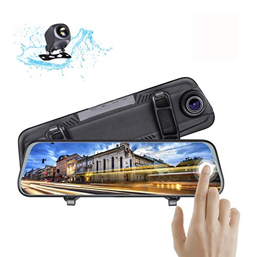 Mirror Dash Cam Backup Camera,10 Inch Full Touch Screen Stream Media 1080P Dual Lens, Super Night Vision, Parking Monitor, 170°Wide Angle Full HD Rear View Camera