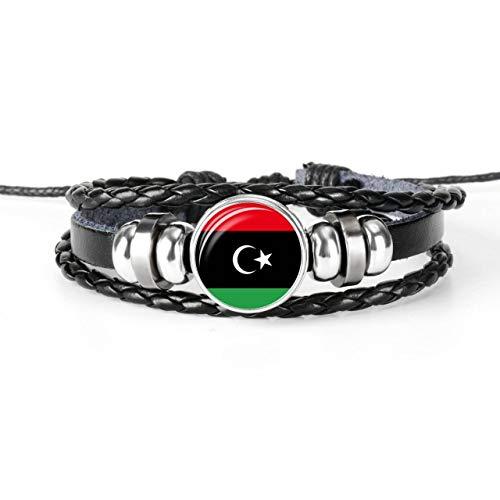 Inveroo Ägypten Marokko Sudan ALGERIEN TUNESIEN LIBYEN Nordafrika Nationalflagge Glas Cabochon Lederarmband für Männer Frauen