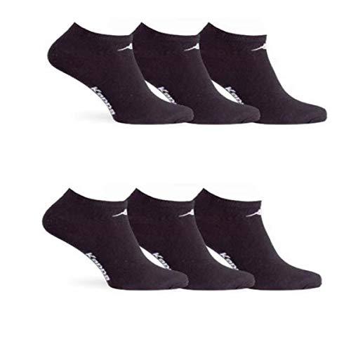 Kappa 6 paia calzini, calzini fantasmini invisibili,calzini sneakers in cotone,modello unisex, vari assortimenti. (39-41, 6 paia nero)