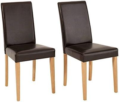 LifeStyleDesign 940144 chaise lIVA lot de 96 x 43 x 57 cm housse en cuir synthétique brun foncé structure en pin massif ciré