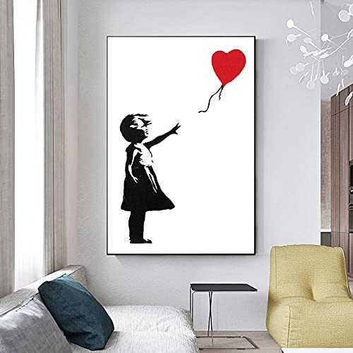 TXTYUMR Chica con Globo Rojo Banksy Lienzo Pintura Graffiti Cartel de Arte de Pared en Blanco y Negro para Sala de Estar Dormitorio decoración del hogar/sin Marco