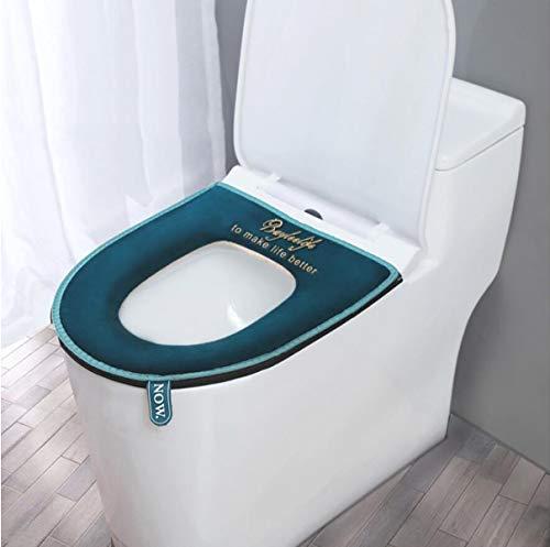 XPOOS WC-Sitzbezüge für alle Jahreszeiten,Universal-Reißverschluss Wasserdichtes antibakterielles Home WC Sitzkissen mit Aufhängeschlaufe Badezimmer Weich und Warm Abwaschbare (Blau)
